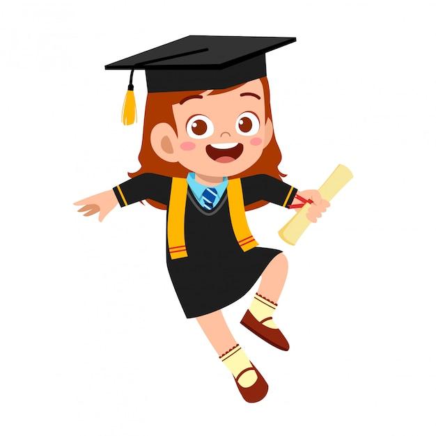 幸せなかわいい子供男の子学校を卒業 Premiumベクター