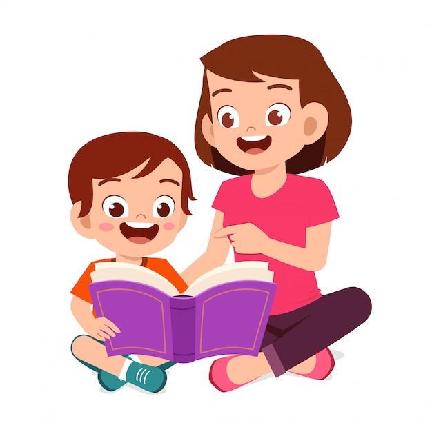 幸せなかわいい子供男の子はお母さんと本を読む Premiumベクター