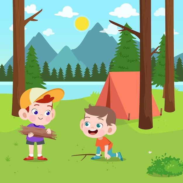 Детские скауты на иллюстрации лагеря Premium векторы