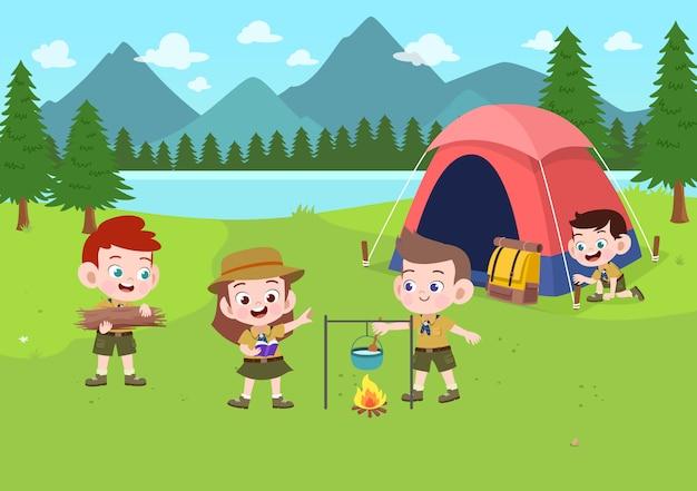 キャンプの図で子供たちのスカウト Premiumベクター