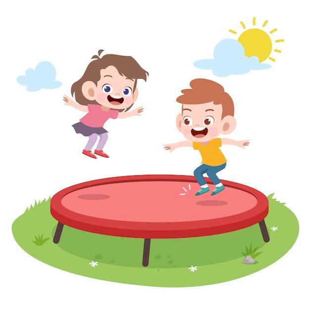 Дети играют вместе векторная иллюстрация Premium векторы