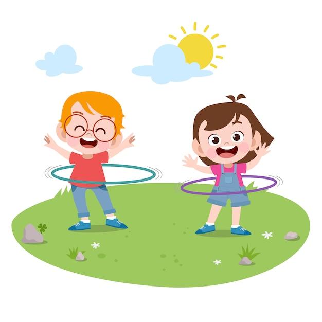 一緒に遊ぶ子供たちのベクトル図 Premiumベクター