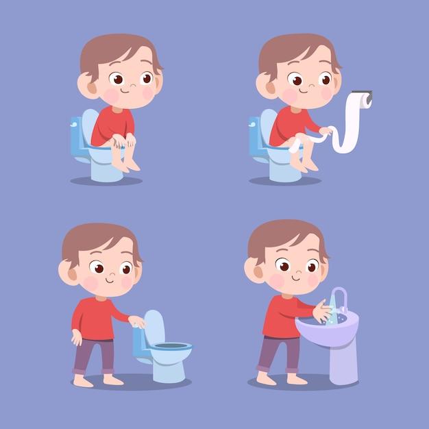 分離されたトイレのうんちベクトルイラストを使用した子供 Premiumベクター