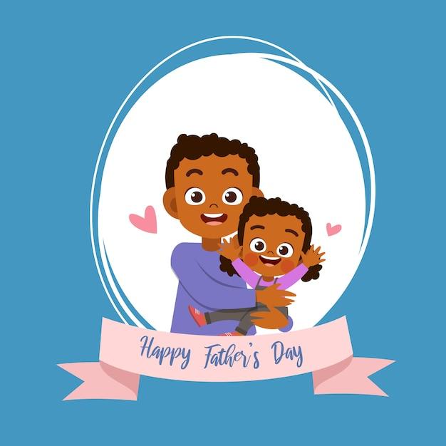 幸せな父親の日カードグリーティングカードベクトル図 Premiumベクター