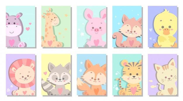 Милый ребенок животных поздравительных открыток векторная иллюстрация Premium векторы