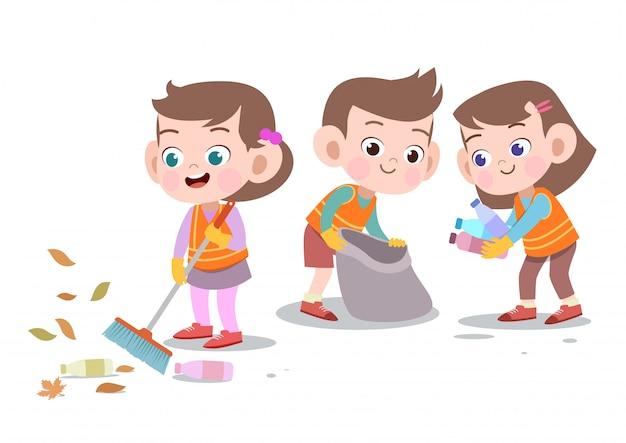 Дети, уборка векторные иллюстрации изолированы Premium векторы