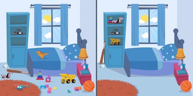 Комната чистая и грязная Premium векторы