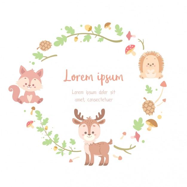 Симпатичная цветочная открытка с изображением животных Premium векторы