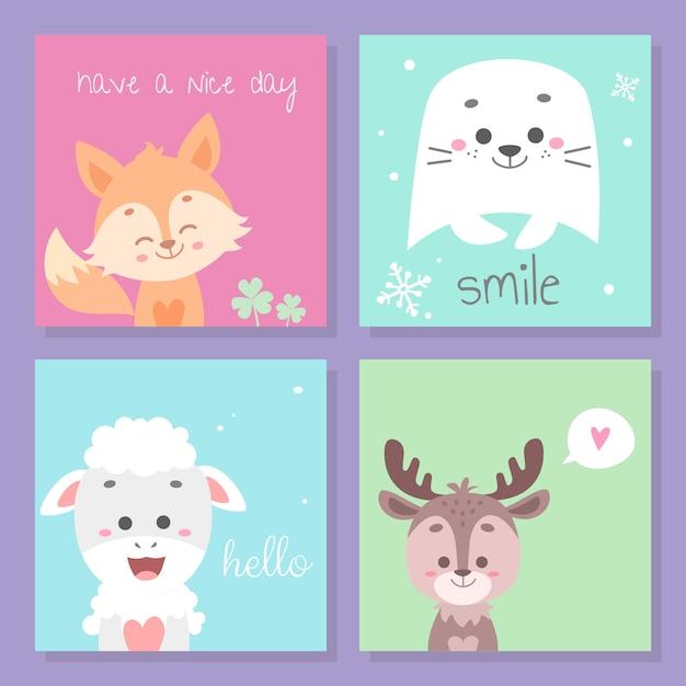 かわいい動物カードセット Premiumベクター