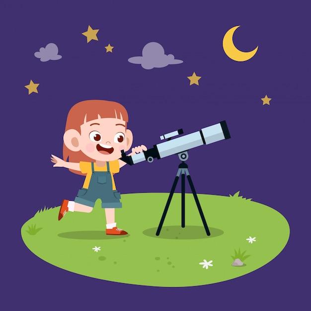 子供女の子望遠鏡 Premiumベクター