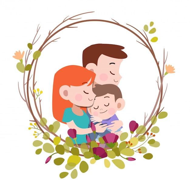 幸せな家族の日カードグリーティングカードベクトル図 Premiumベクター