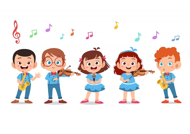 学校の聖歌隊で歌っている子供たちの漫画グループ Premiumベクター