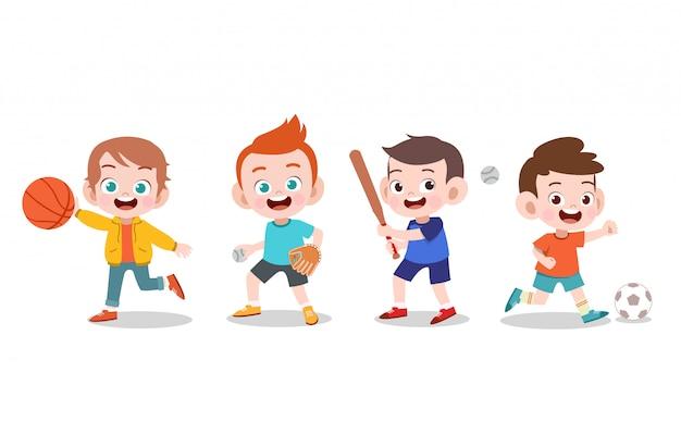 Детская спортивная иллюстрация Premium векторы