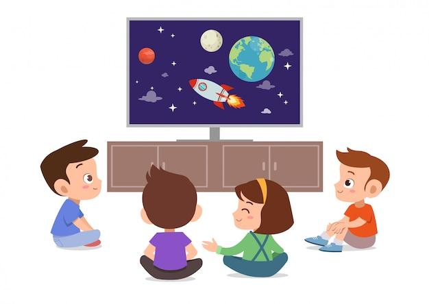 子供たちはテレビを見る Premiumベクター