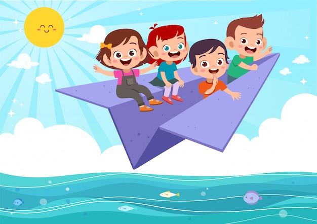 Дети летают бумажный самолетик Premium векторы