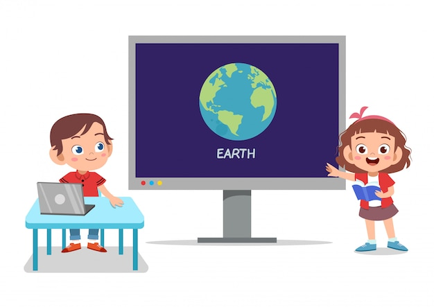Дети технологии земля Premium векторы