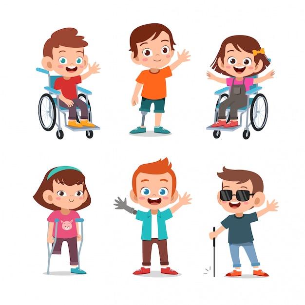 Дети-инвалиды Premium векторы