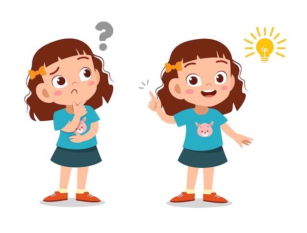 子供の女の子の思考の顔 Premiumベクター