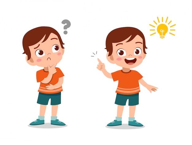 Ребенок мальчик думая лицо Premium векторы
