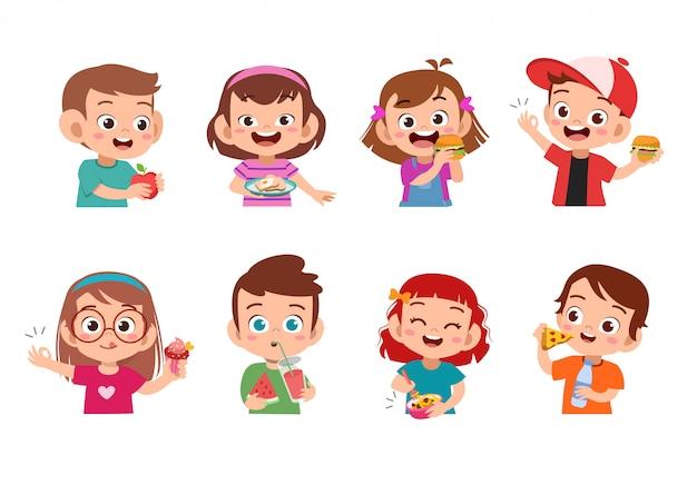 Дети едят еду Premium векторы