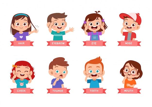 Дети, указывающие на комплект частей тела Premium векторы