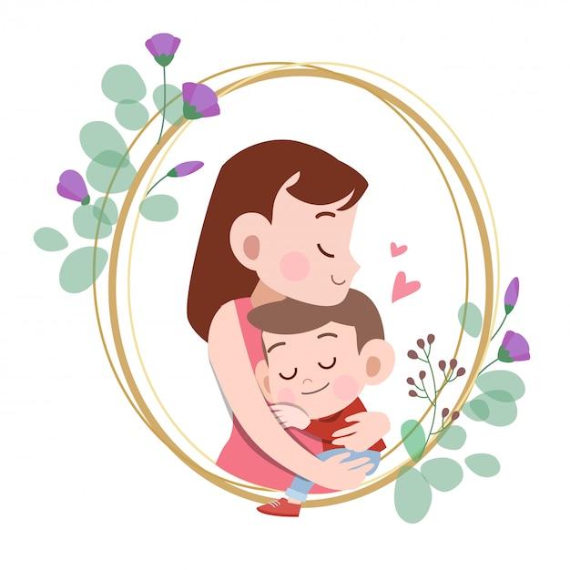 幸せな母の日カード挨拶ベクトルイラスト Premiumベクター