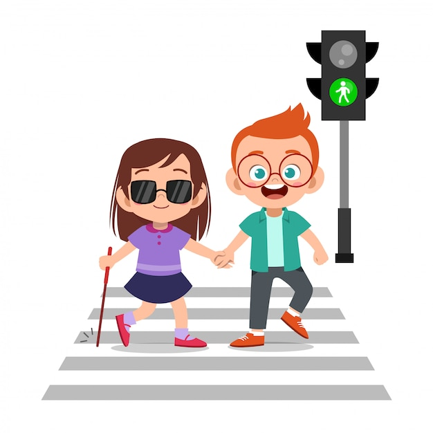 道路を横断する盲目の友人を助ける子供男の子 Premiumベクター