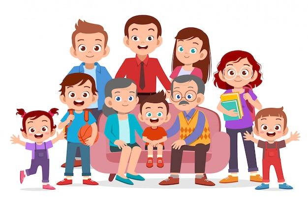 家族の肖像画 Premiumベクター