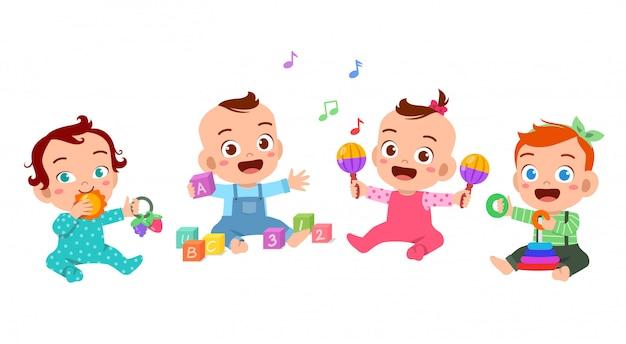 赤ちゃんが一緒に遊ぶイラスト Premiumベクター