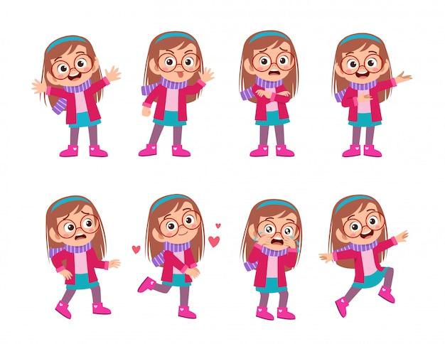 Детские выражения носить одежду осень-зима Premium векторы