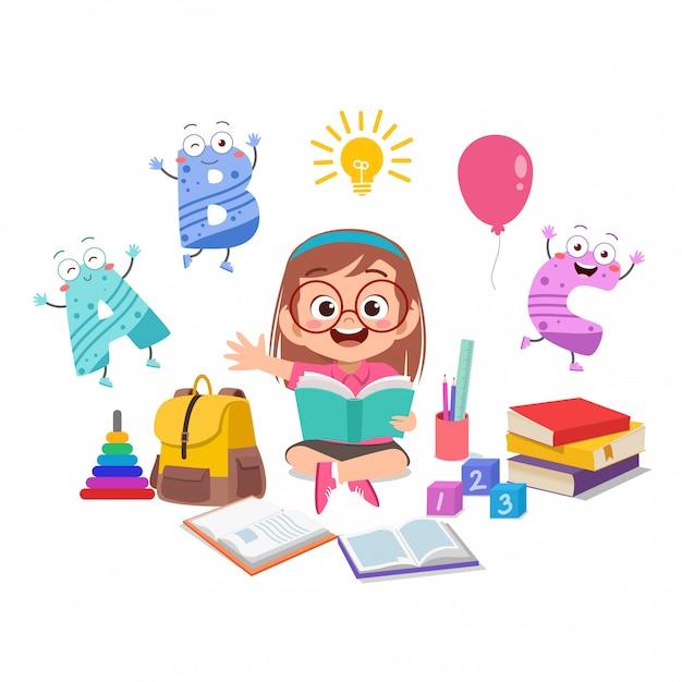Счастливый малыш девочка учится Premium векторы
