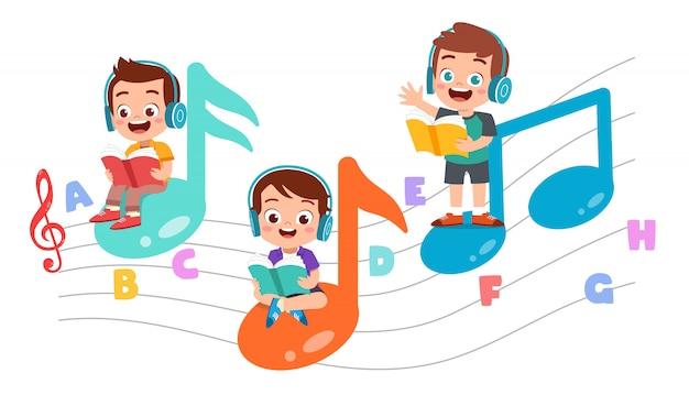 Счастливые дети читают книги и слушают музыку Premium векторы