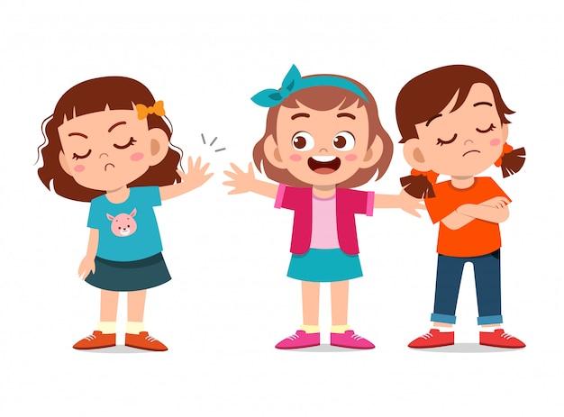 Дети спорят с другом Premium векторы