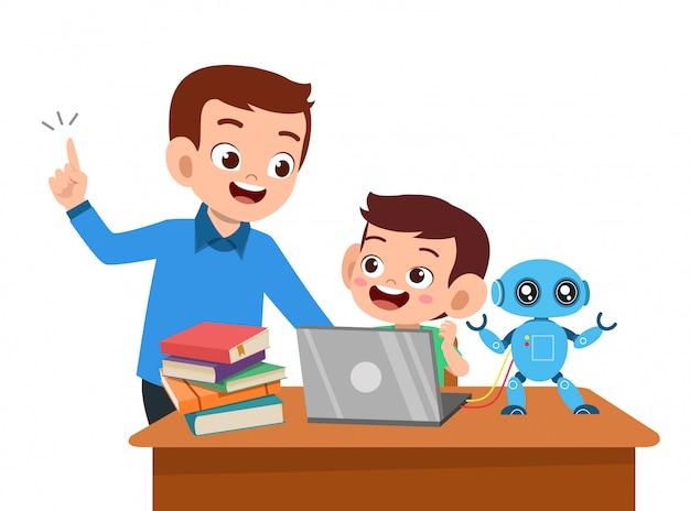 親が子供に教えるのを手伝います Premiumベクター