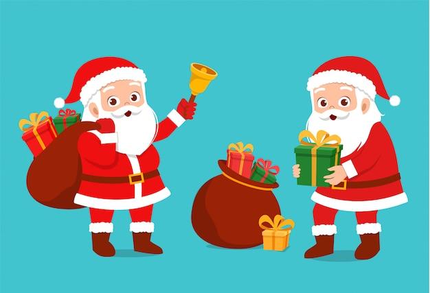 ハッピーサンタが子供たちにプレゼントを贈る Premiumベクター