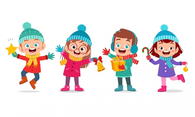 Счастливые дети выражение улыбка рождественский набор Premium векторы
