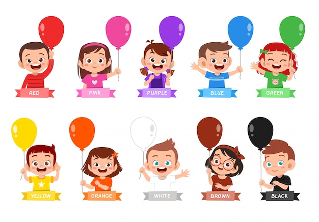 幸せなかわいい子供は多くの色のデザインを着る Premiumベクター