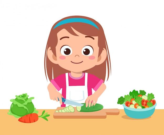 かわいい幸せな子供カット野菜 Premiumベクター