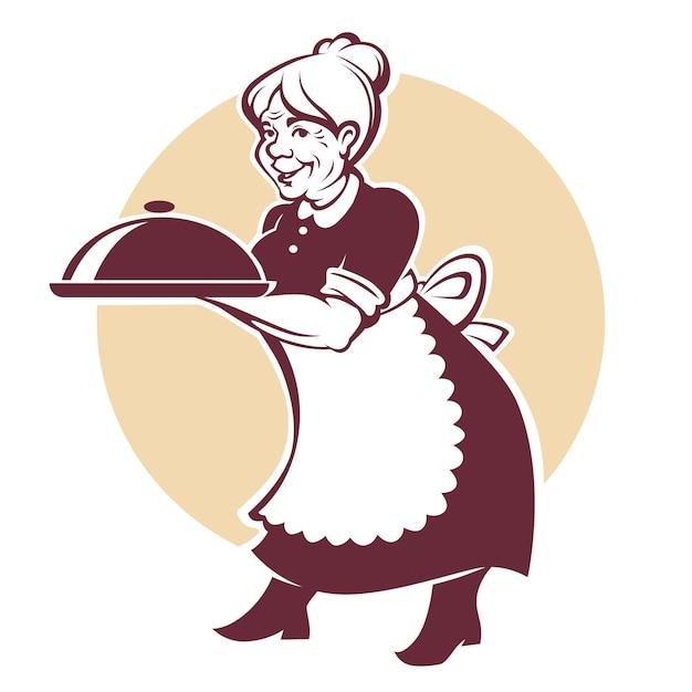 素敵な祖母と自家製食品のベクトルの肖像 Premiumベクター