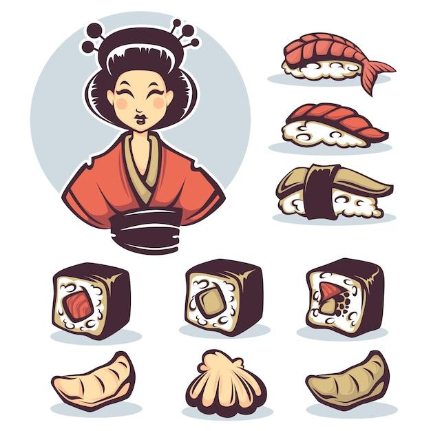 Векторное изображение японки с традиционной едой, коллекция мультфильмов Premium векторы