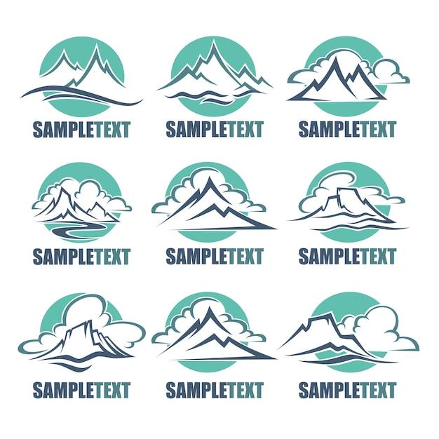 Вид на горы, высокие пики логотип Premium векторы