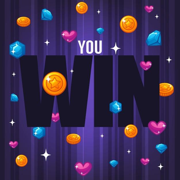あなたは勝つ、心、星、宝石、コイン、紫色の背景にレタリング組成と明るく光沢のあるバナーお祝い Premiumベクター