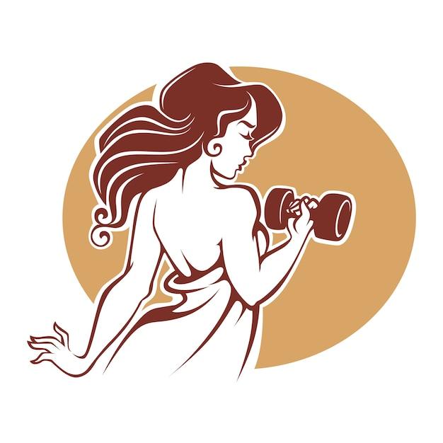 Фитнес богини, шаблон логотипа женского спортзала в старинном стиле Premium векторы