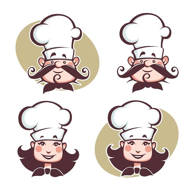 Мужчина и женщина счастливы шеф-повар Premium векторы