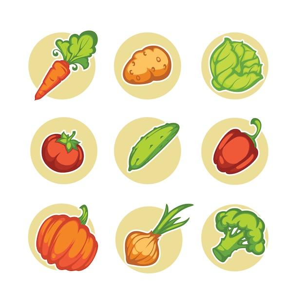 漫画野菜のセット Premiumベクター