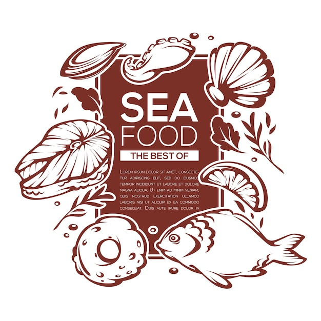 Шаблон дизайна морепродуктов для вашего меню Premium векторы