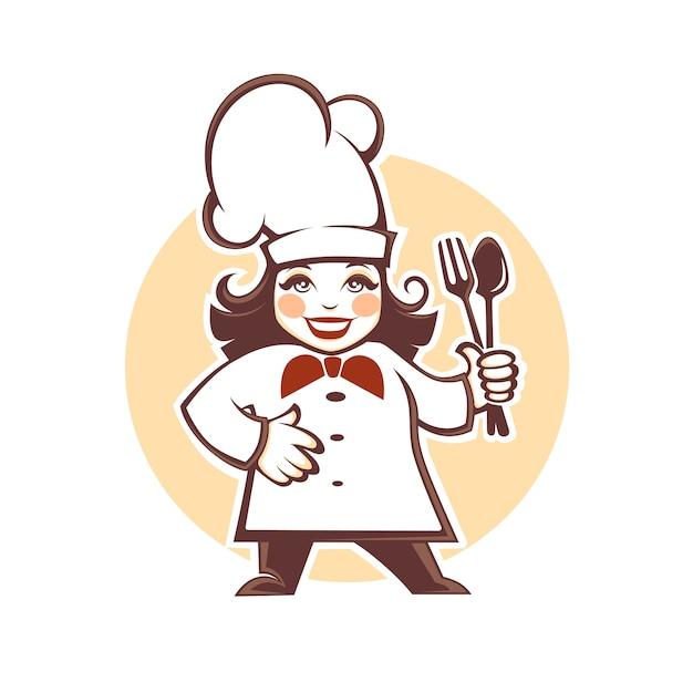 Счастливый мультфильм шеф-повар Premium векторы
