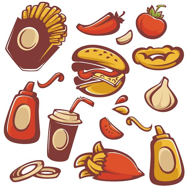 Векторная коллекция объектов быстрого питания и ингредиент Premium векторы
