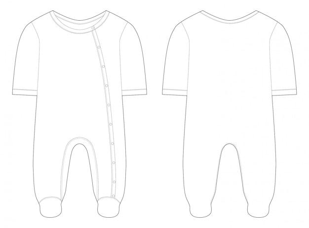 Пижамы для мальчиков и девочек. технический чертеж. Premium векторы