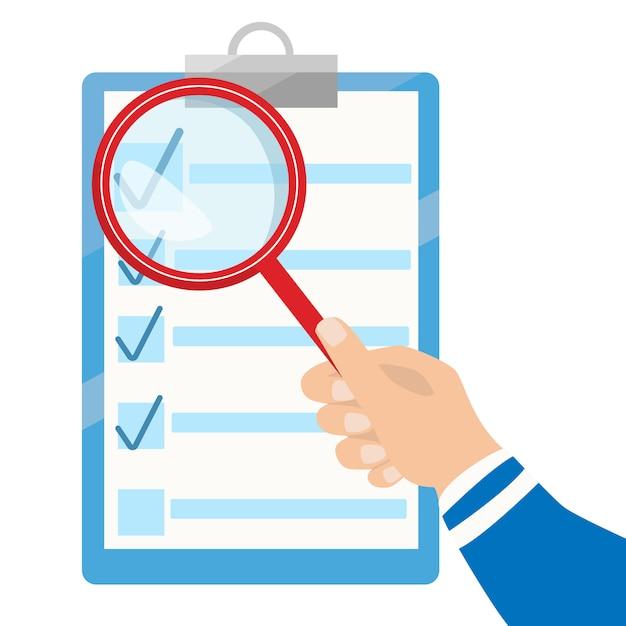 ベクトル事業契約と拡大鏡。チェックリストフラットアイコン。分析ドキュメント Premiumベクター
